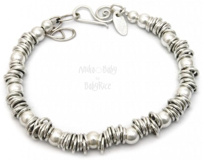 Solid Sterling Silver 925 Sweetie Rings Beads Bracelet - BabyRice