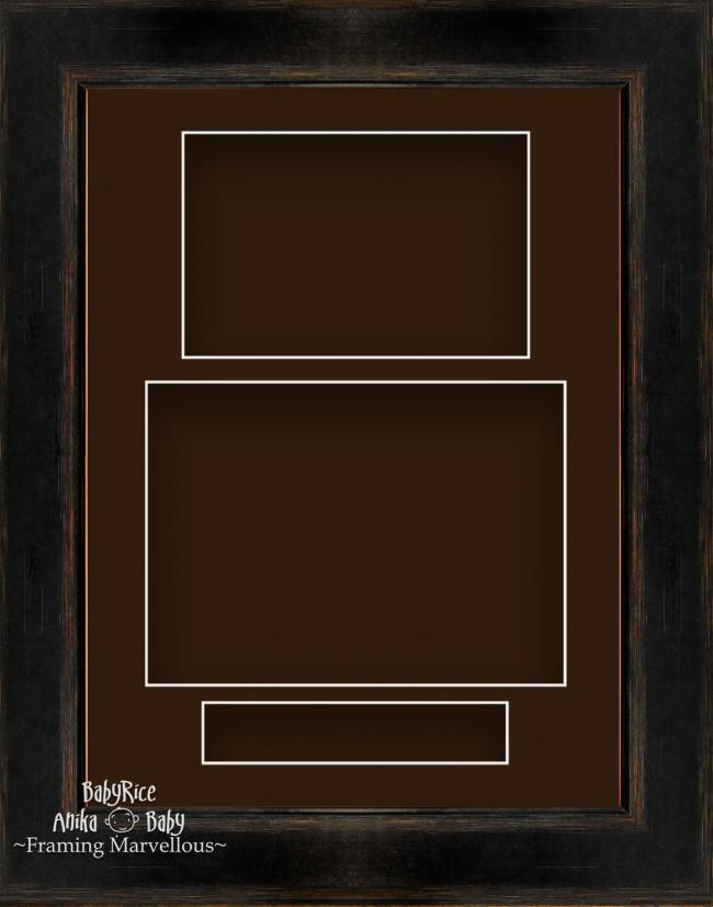 "11.5x8.5"" Black Orange 3D Deep Shadow Box Display Frame Brown Portrait"