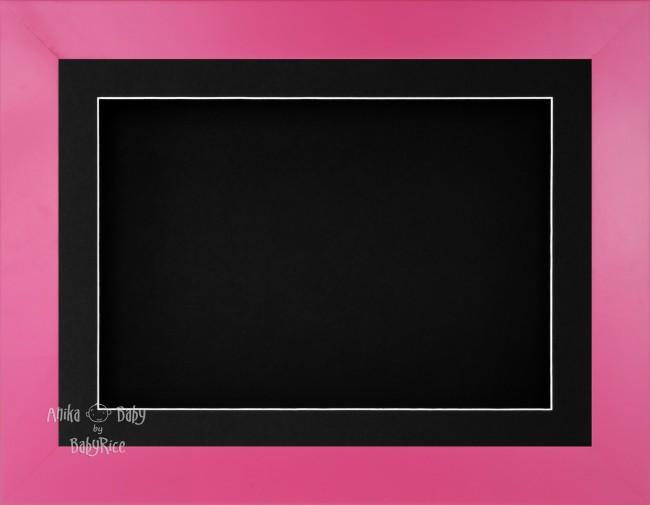 "11.5x8.5"" Pink Finish 3D Display Frame 1 Hole Black Mount Black Back"