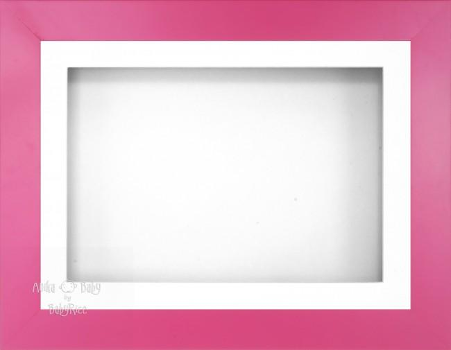 "12x9"" Pink Effect 3D Display Frame 1 Hole White Mount White Back"