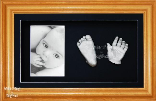 Baby Handprint Footprint Casting Kit, Honey Pine Frame, Silver Casts