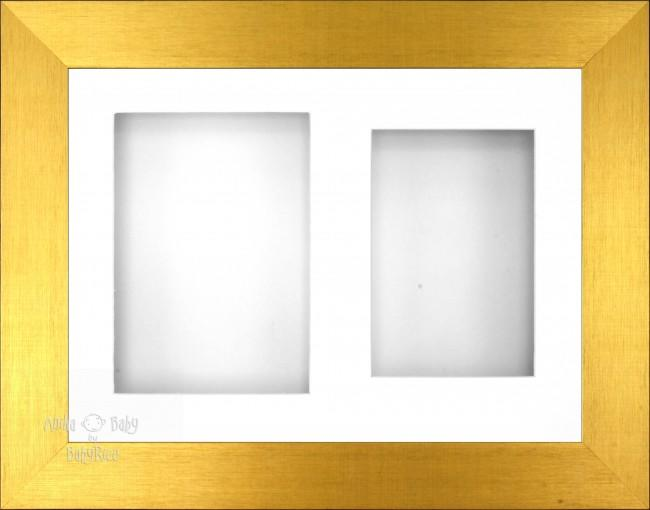 "11.5x8.5"" Brushed Gold 3D Display Frame 2 Hole White Mount White Back"