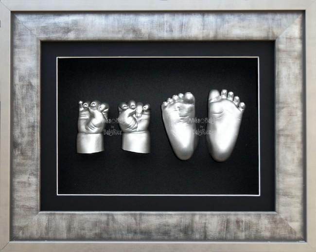 Large Baby Twins 3D Casting Kit Keepsake, Urban Silver Frame & Casts