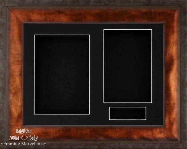 "12x9"" Urban Bronze 3D Display Frame 3 Hole Black Mount Black Back"
