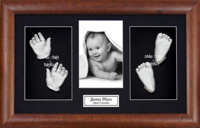 New Baby Baptism Gift, 3D Handprint Footprint Kit, Dark Wood Frame