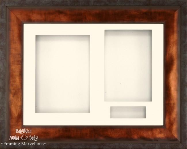 "12x9"" Urban Bronze 3D Display Frame 3 Hole Cream Mount Cream Back"