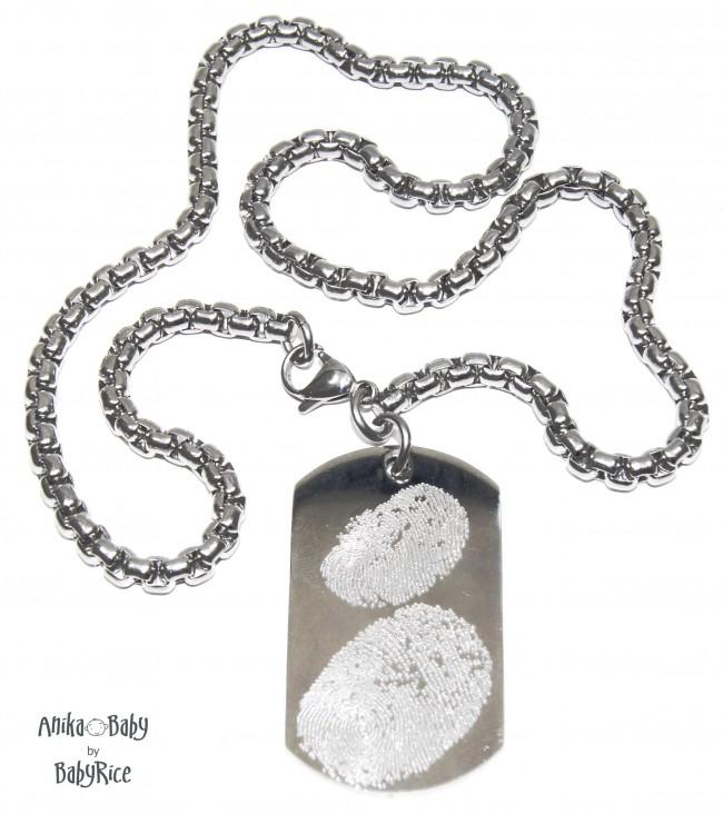 Men's Fingerprint Jewellery Necklace Dogtag on Square Chain S/Steel