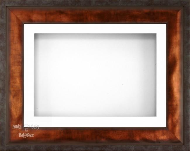 "12x9"" Urban Bronze 3D Display Frame 1 Hole White Mount White Back"