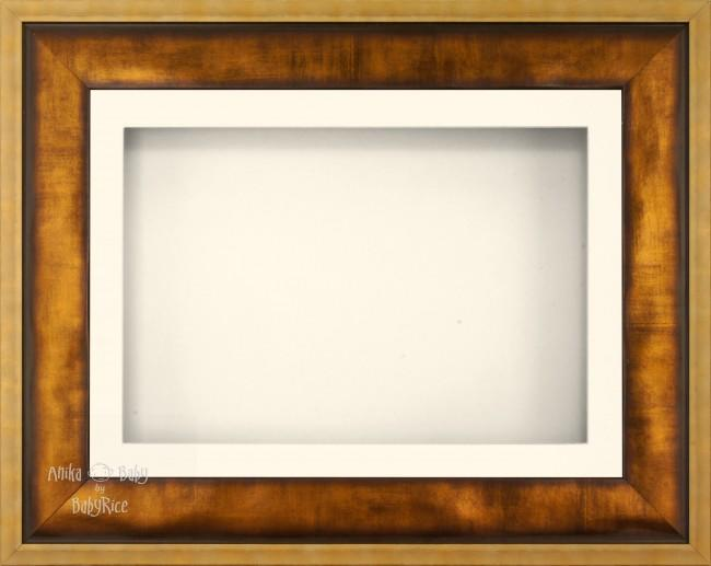 "12x9"" Urban Gold 3D Display Frame 1 Hole Cream Mount Cream Back"