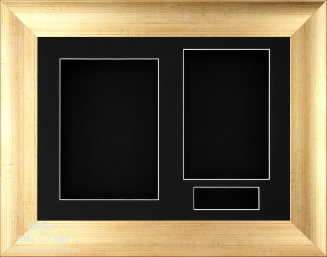 "11.5x8.5"" Antique Gold 3D Display Frame 3 Hole Black Mount Black Back"