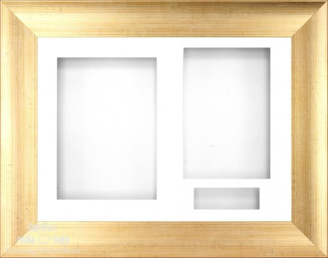 "11.5x8.5"" Antique Gold Effect Display Frame White 3 hole mount"