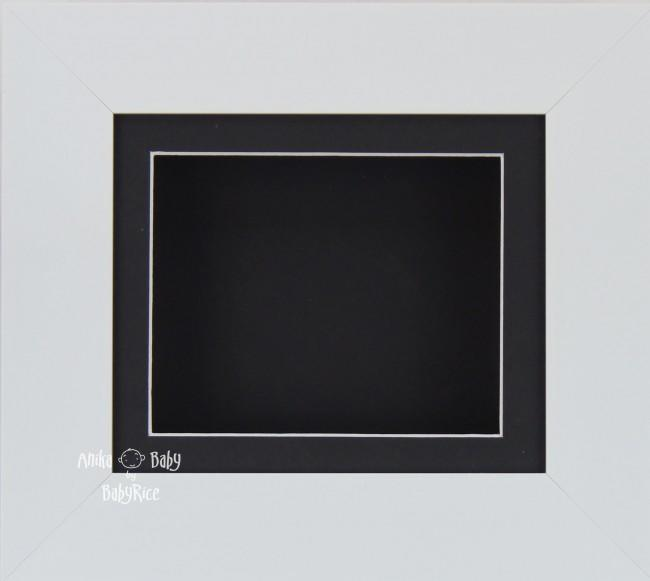 "6x5"" Deep Box Display Frame in White with Black Mount and Backing"