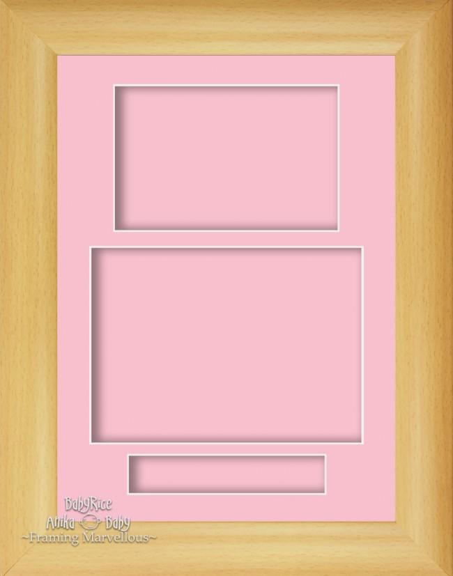 "12x9"" Beech Effect 3D Display Frame 3 Hole Pink Portrait"