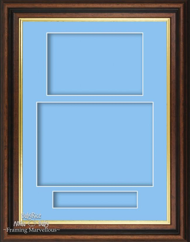 Dark Brown Mahogany Box Display Frame Blue