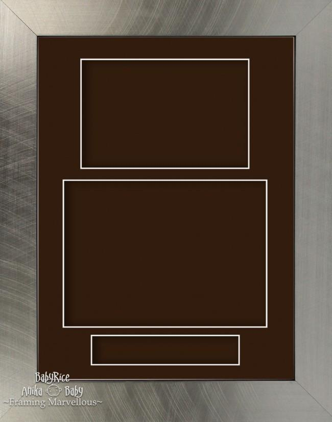 "11.5x8.5"" Pewter effect display Frame Brown Portrait"