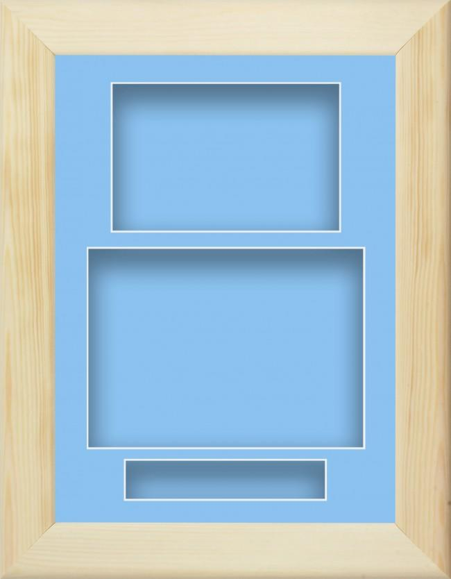 Natural Pine Wooden Box Display Frame Blue Portrait