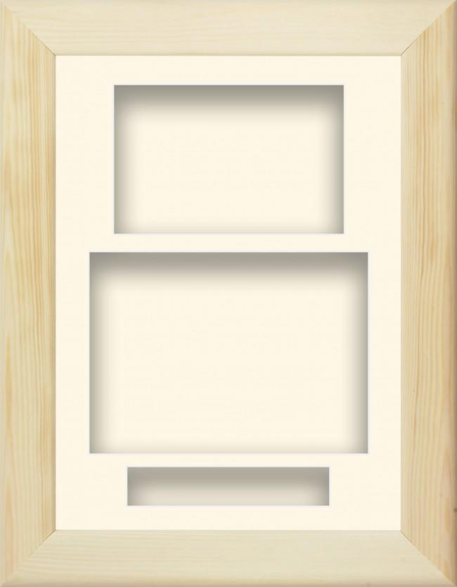 Natural Pine Wooden Box Display Frame Cream Portrait