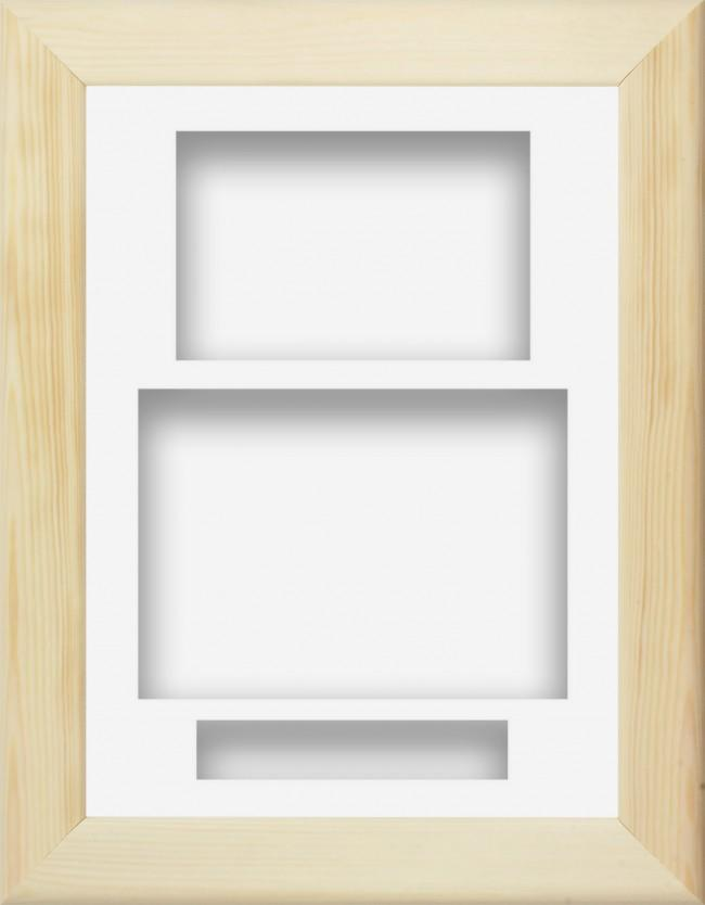 Natural Pine Wooden Box Display Frame White Portrait
