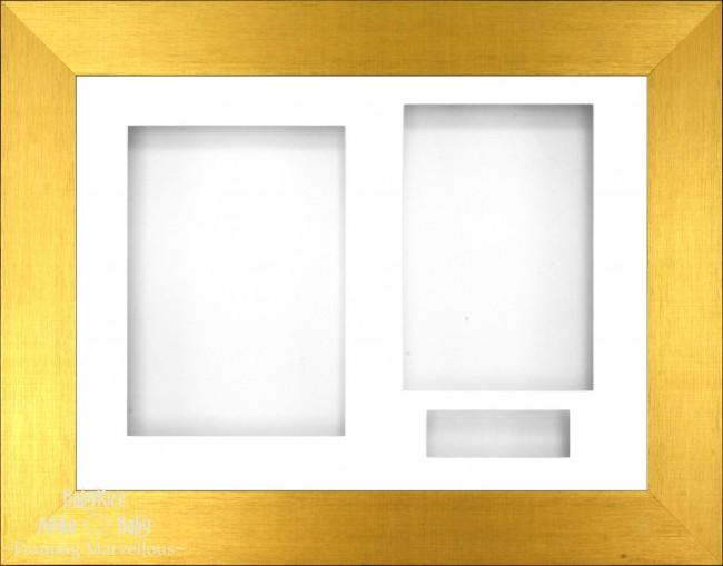 Brushed Gold 3D Display Box Frame White