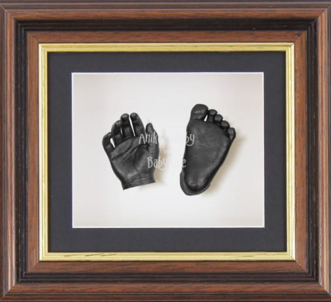 Baby Casting Kit Mahogany Gold Trim Frame Black White Display Pewter paint