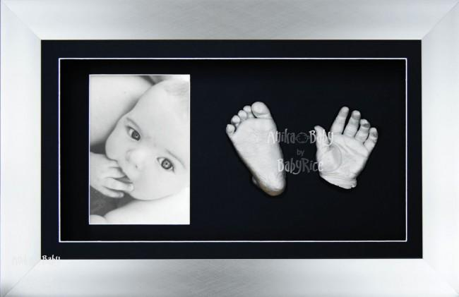 New Baby Christening Gift, Silver Baby Casting Kit, Chrome Frame