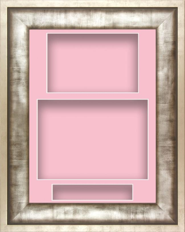 12x9 Urban Silver Pewter Grey Deep Display Frame Pink Portrait