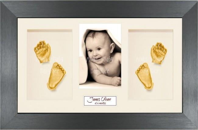 Twin Babies Large Baby Gift 3D Hand Foot Gold Casting, Pewter Frame