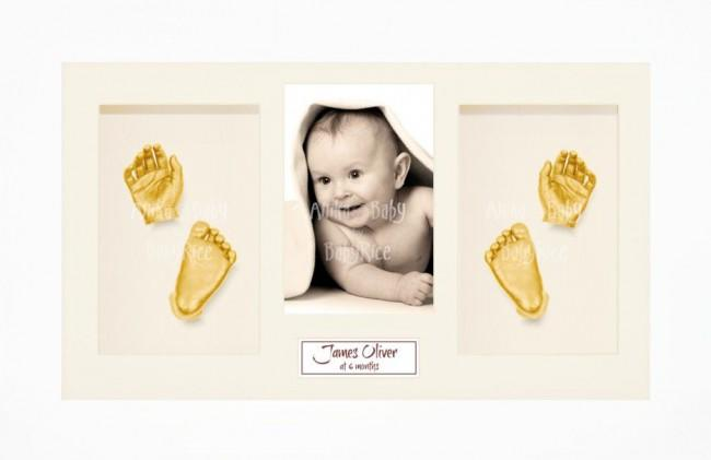 Baby Hand Foot 3D Prints Casting Kit Gift Set White Frame, Gold