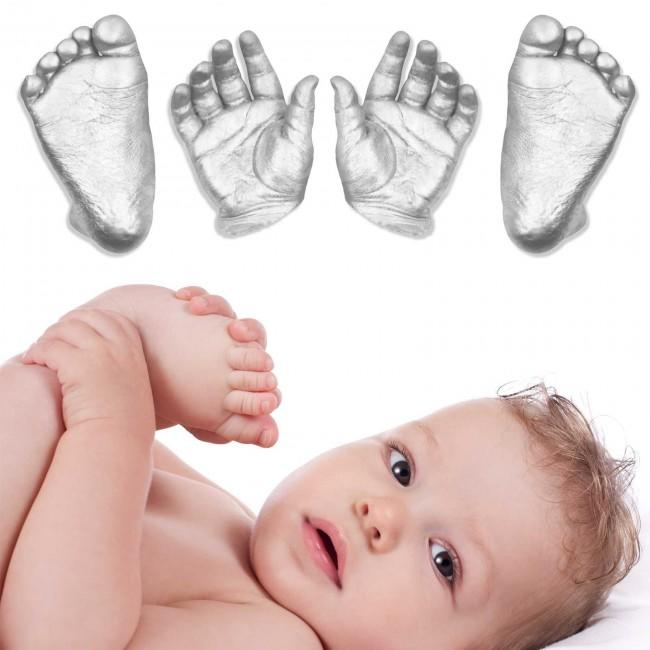 3d Baby Hand Foot Feet Hands Casting Kit Silver Metallic paint