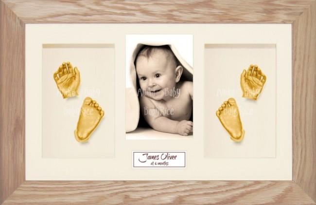 Solid Oak Wooden Frame, Baby Casting Kit Keepsakes, Gold Casts