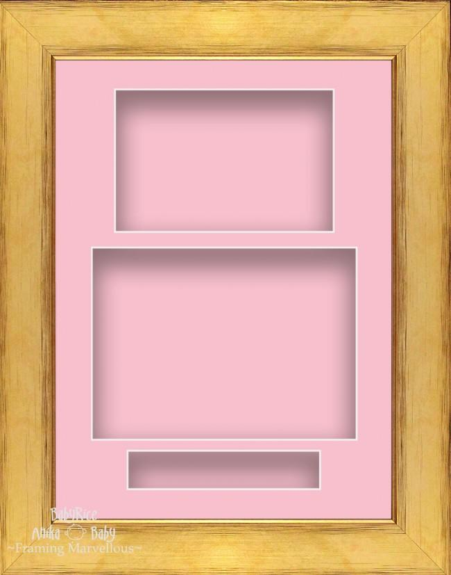 "11.5x8.5"" Gold 3D Deep Shadow Box Frame Pink Portrait"