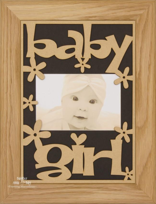 BabyRice New Baby Girl Gift Wooden Frame Solid Oak – Black Mount