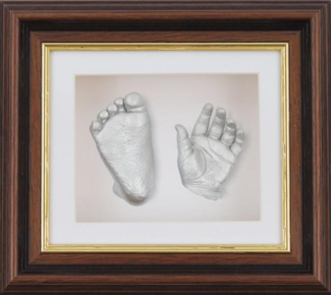 Baby Casting Kit Mahogany Gold Wooden Frame White Silver paint