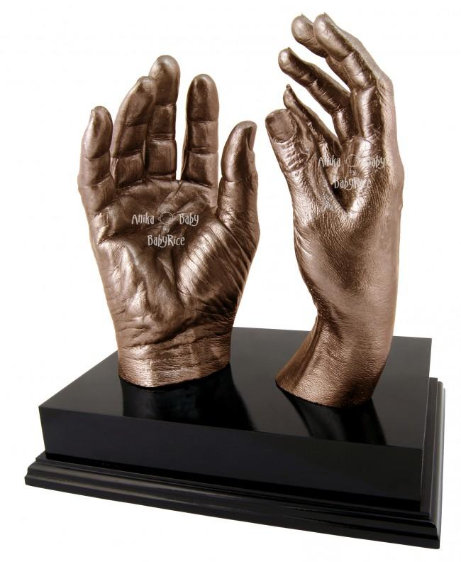 "Adult Hands Casting Kit with Black Display Plinth 8x6"" – Bronze"