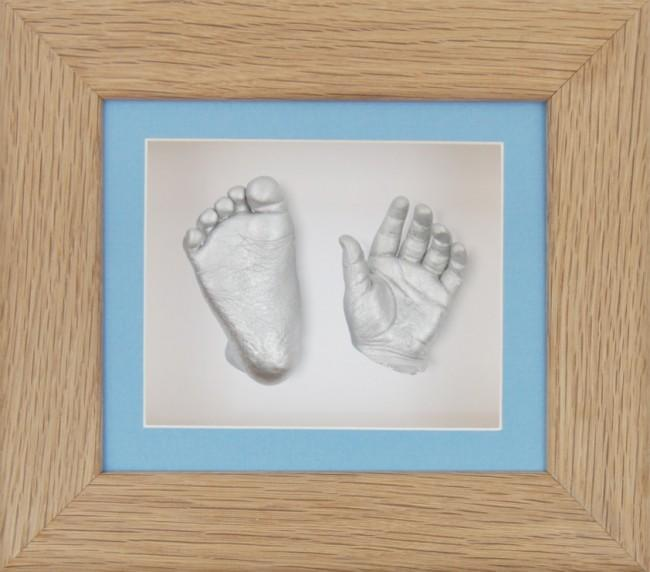 Baby Casting Kit Solid Oak Frame Blue White Display Silver paint
