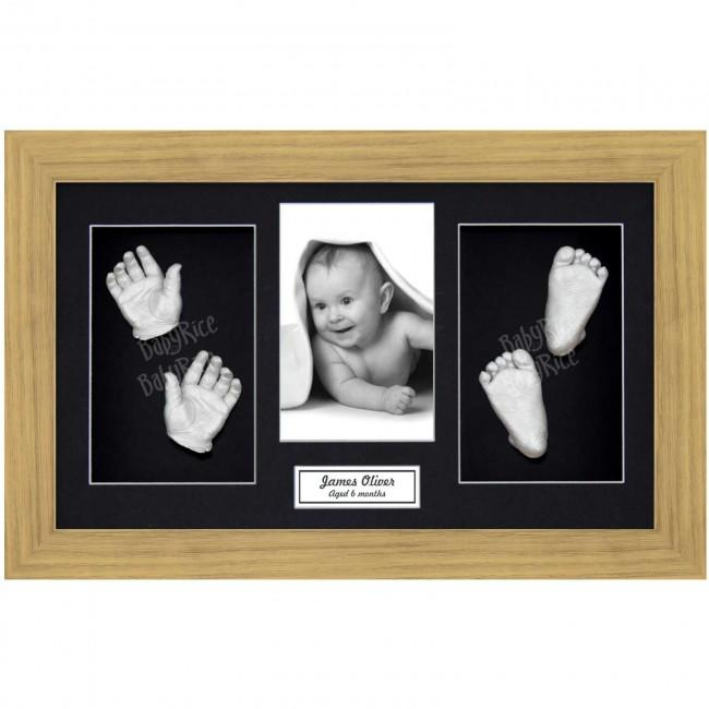 Baby Casting Kit, Large Oak Effect Frame, Black Display, Silver Paint