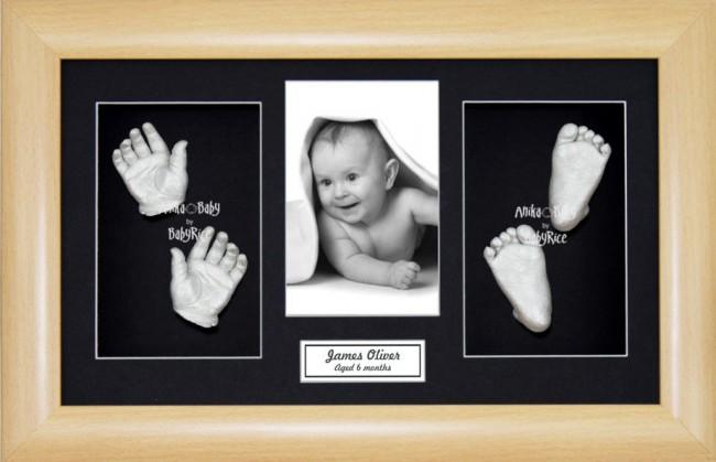 3D Baby Hand Foot Cast Kit, Beech effect Frame, Silver Casting