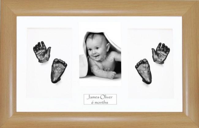 3D Baby Hand Foot Cast Kit, Beech effect Frame, Pewter Casting