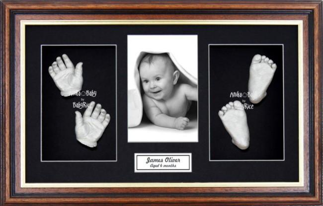 Handprint Footprint Casting, Large Mahogany Gold Frame, Silver Paint