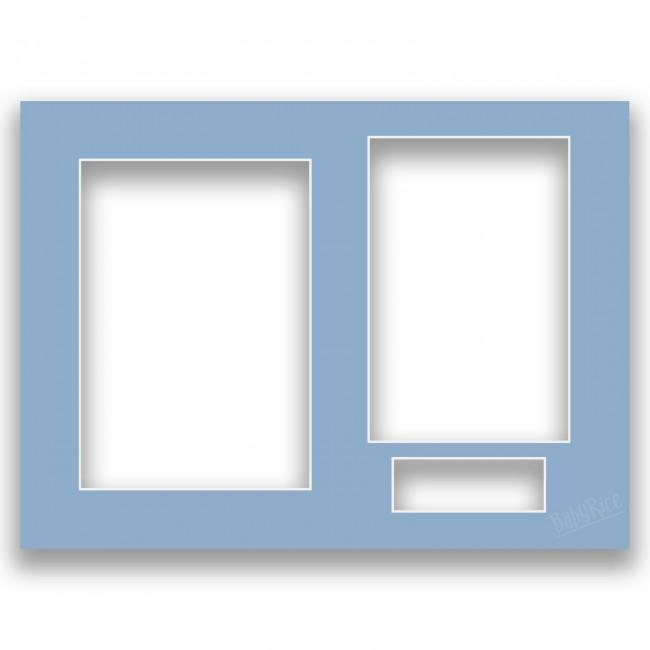 Three Aperture Picture Frame Mount & Backing Card 12x9 Inches - Duchess Blue