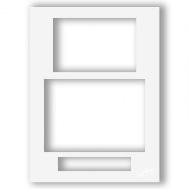 Three Aperture Picture Frame Mount 12x9 Inches (Portrait) - Milky White