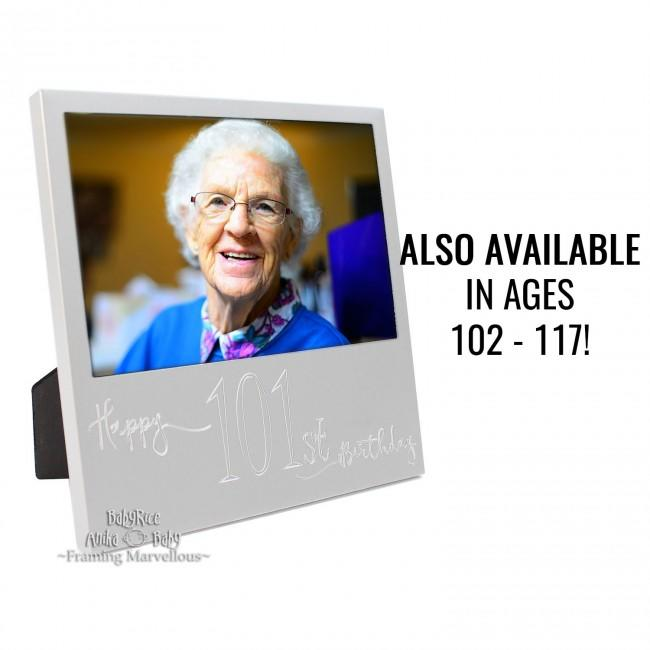 New Engraved Silver 100th+ Birthday Photo Frame