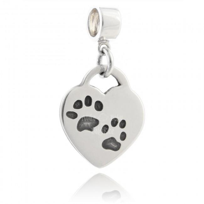 Silver Jewellery Personalised Paw Print on Drop Heart Charm Bead
