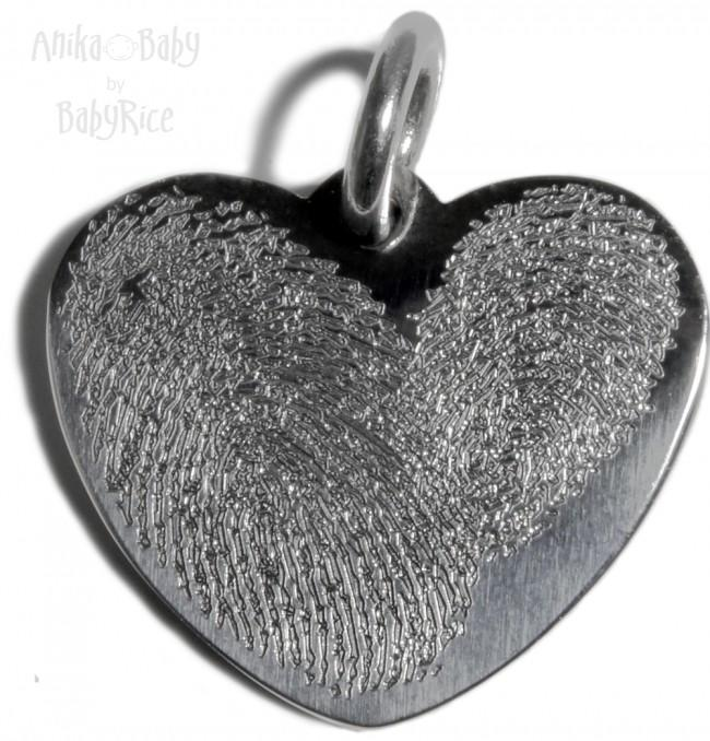 Personalised Adult Fingerprints in Heart Pendant Stainless Steel