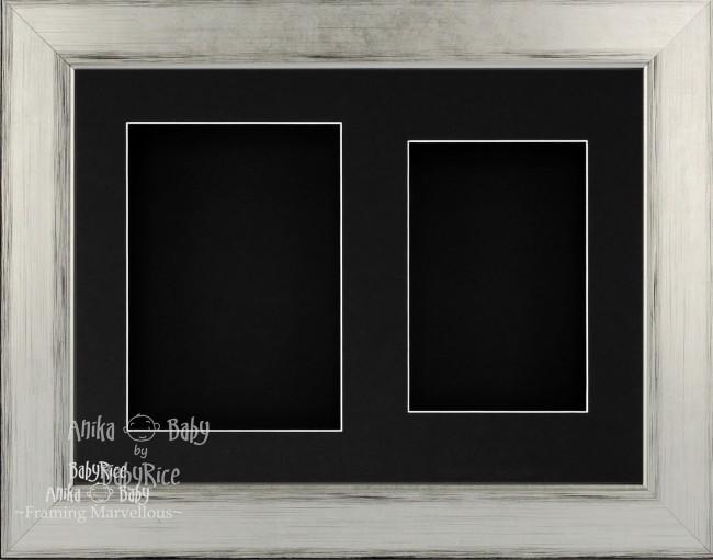 "11.5x8.5"" Silver Black 3D Deep Box Frame Black 2 Mount"