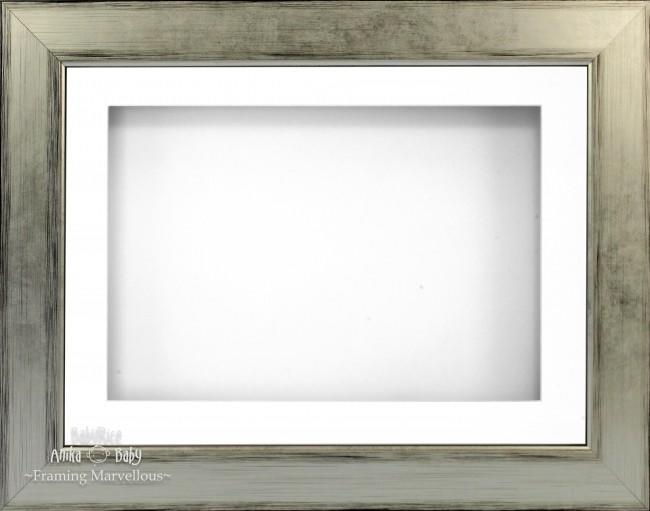 "11.5x8.5"" Silver Black 3D Deep Box Display Frame White Mount"