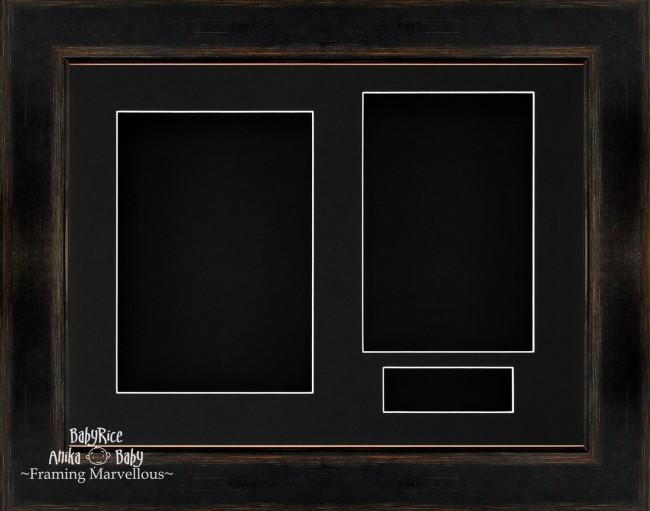 Black Orange 3D Shadow Box Picture Display Frame 3 Hole Mount