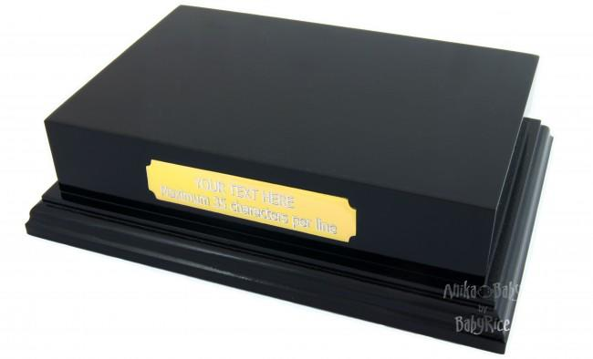 "Plinth Display 6x4"" Black with Custom Engraved Gold Plaque"
