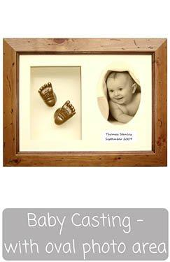 Baby Casting Kit with Frame - Oval Photo, Casts, Text Display