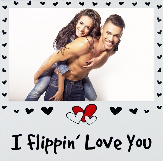 I Flippin' Love You Photo Picture Frame Silver Wedding Valentines Gift Lovers